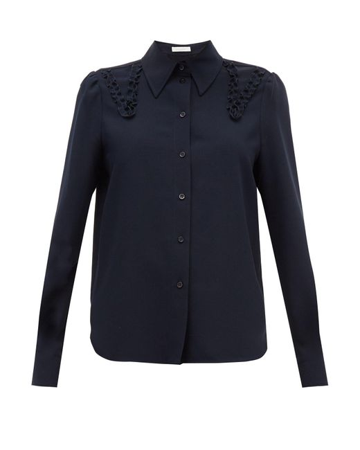 See By Chloé See By Chloé ラッフル クレープシャツ Blue