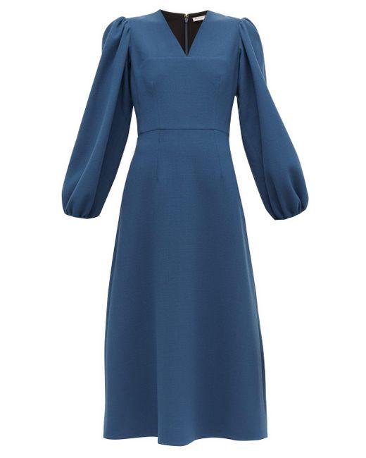 Emilia Wickstead Carmina バルーンスリーブ ウールクレープドレス Blue