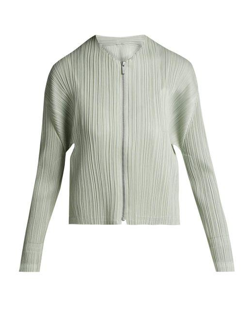 Pleats Please Issey Miyake - Metallic Collarless Pleated Jacket - Lyst