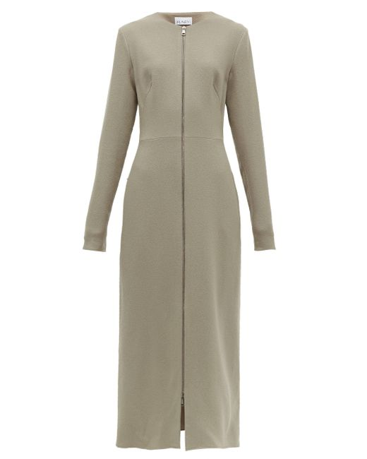 Raey フロントジップ ウールクレープドレス Gray