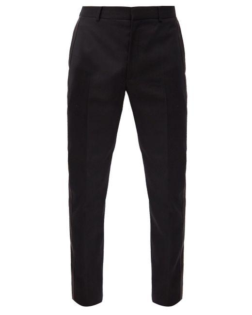 メンズ Alexander McQueen サテンストライプ ウール スリムスーツパンツ Black