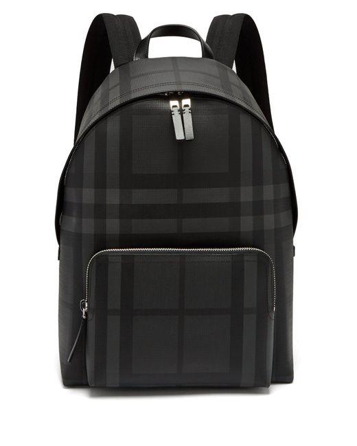Burberry - Black London-check Pvc Backpack for Men - Lyst