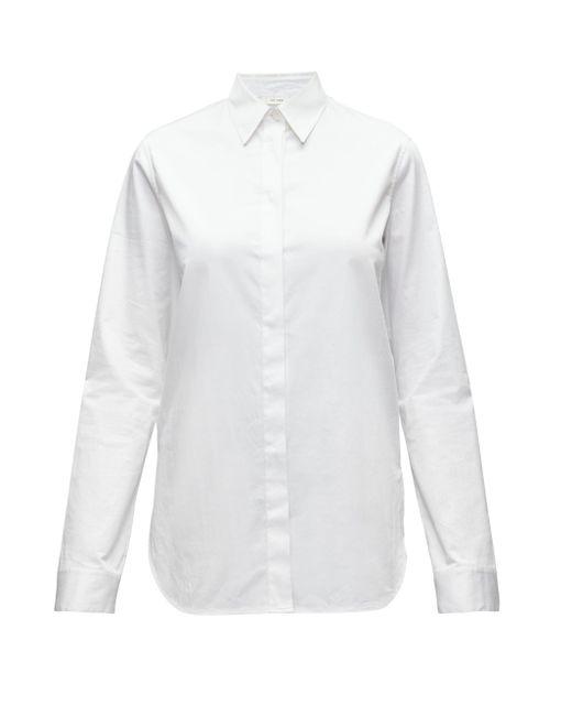 The Row アモス ポイントカラー コットンポプリンシャツ Multicolor