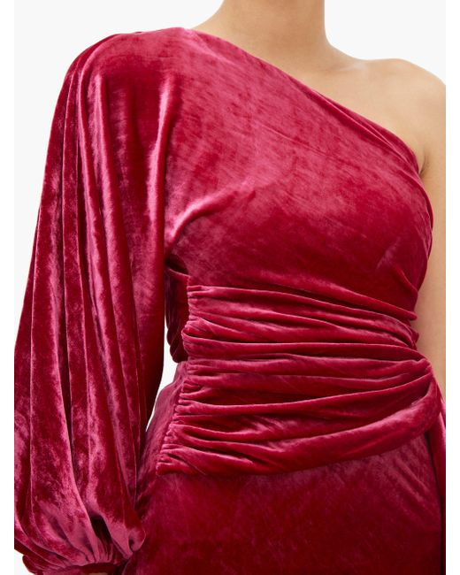 Maria Lucia Hohan Amaris ワンショルダー ベルベットドレス Red