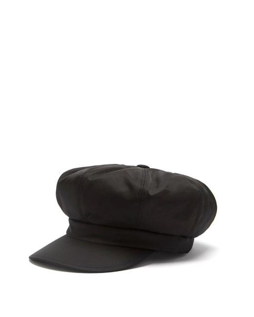 Prada Black Triangle Logo-plaque Nylon Baker Boy Hat