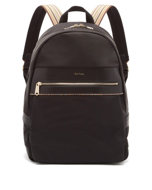 Paul Smith - Black Artist Webbing Leather-trimmed Nylon Backpack for Men - Lyst
