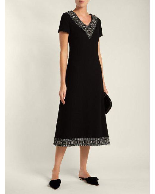Glam faux-pearl and crystal wool-crepe dress Goat ymNxNAuTo