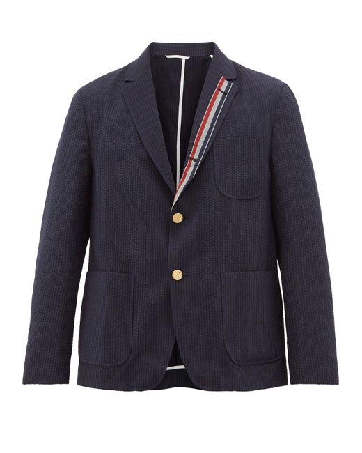 メンズ Thom Browne トリコロールトリム シングルウールジャケット Blue