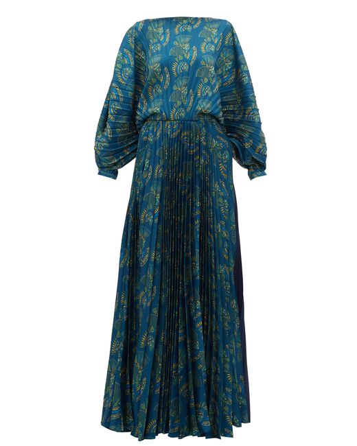 Zeus+Dione Robe longue en satin plissé Crete femme de coloris bleu Hx0fW