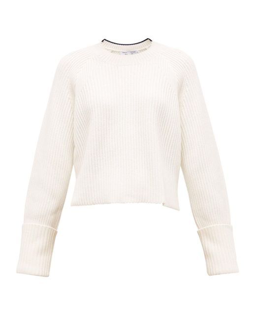 PROENZA SCHOULER WHITE LABEL クロップド リブニットコットンウールセーター Multicolor