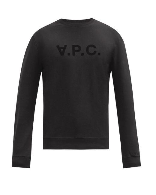 メンズ A.P.C. コットンスウェットシャツ Black
