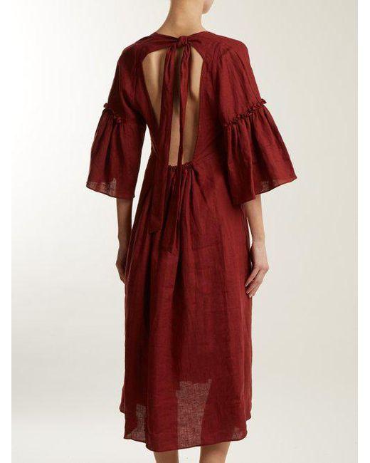 Georgiana tie-back linen dress Three Graces London 7QYSl73RdJ