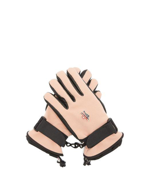 3 MONCLER GRENOBLE テクニカルツイル&レザー スキーグローブ Pink