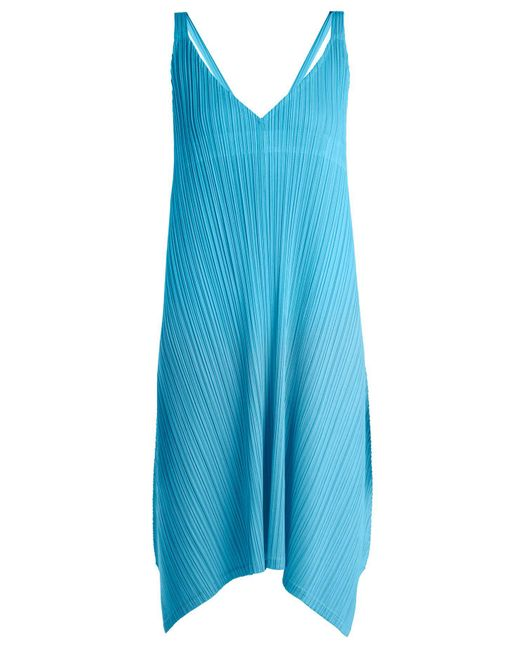 Pleats Please Issey Miyake - Blue Pleated V-neck Dress - Lyst