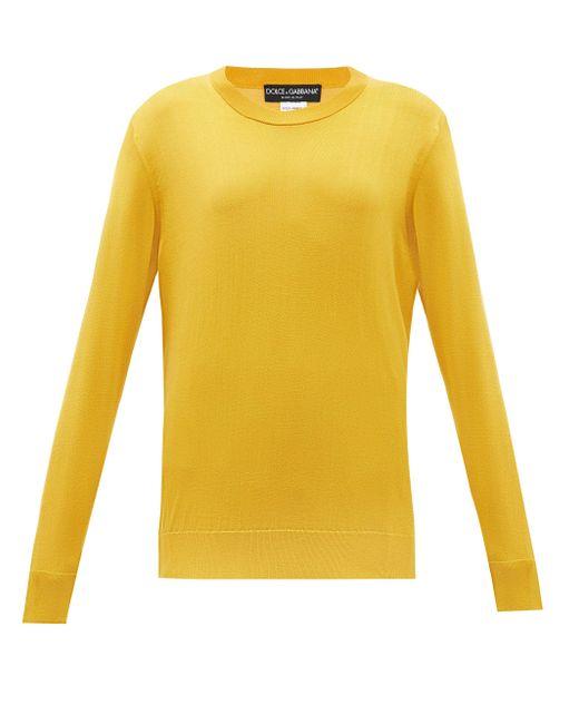 Dolce & Gabbana ラウンドネック シルクセーター Yellow