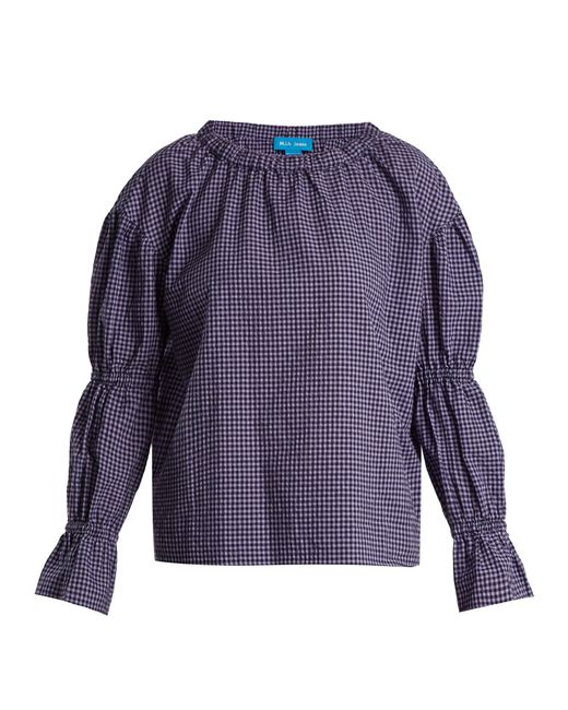 MiH Jeans - Purple Long-sleeved Gingham Cotton-blend Top - Lyst