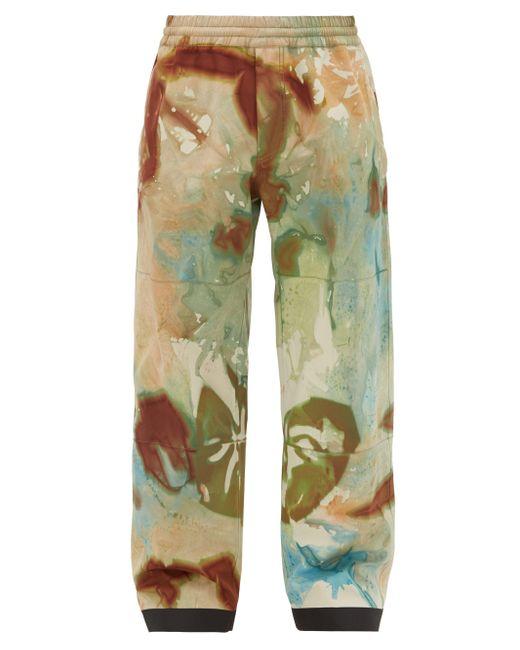 3 MONCLER GRENOBLE Green Tie-dye Print Ski Trousers for men