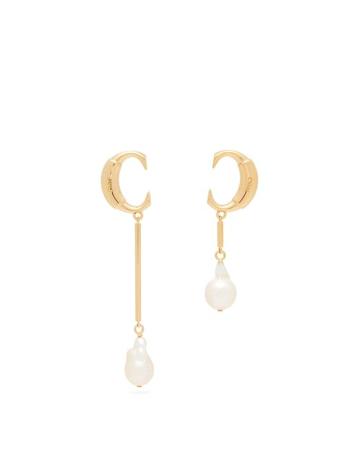 Chloé Multicolor Darcey Asymmetric Pearl Pendant Earrings