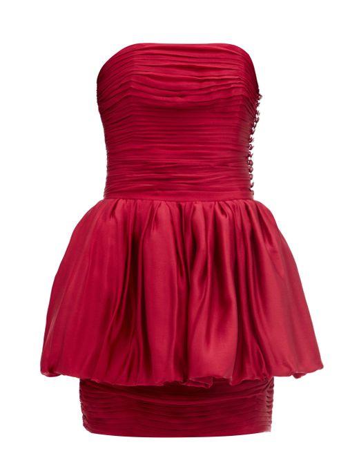 Alexandre Vauthier レイヤード シルクサテンミニドレス Red