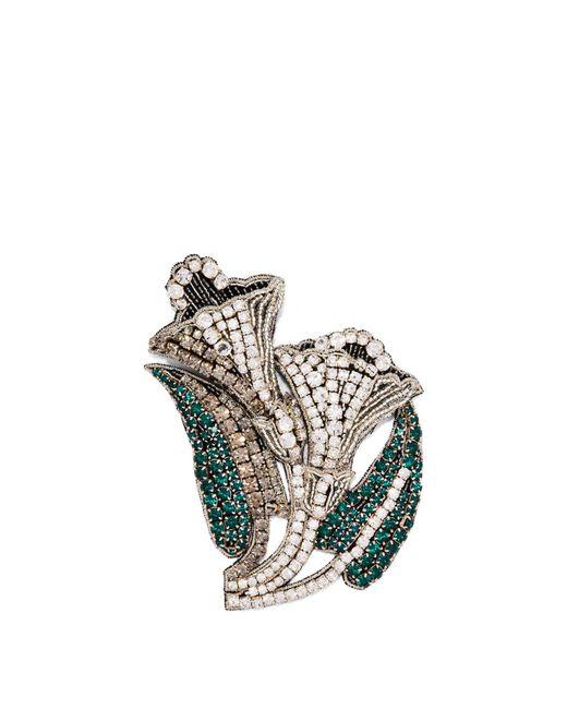 Rochas - Metallic Crystal Embellished Lily Brooch - Lyst