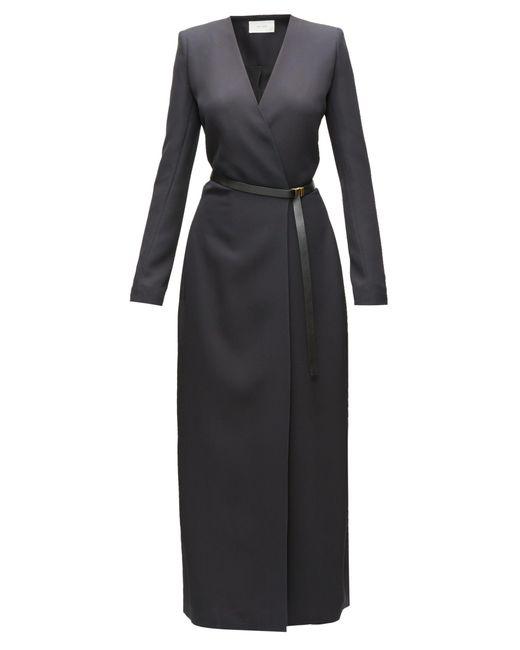 The Row Black Vana Belted Cady Wrap Dress