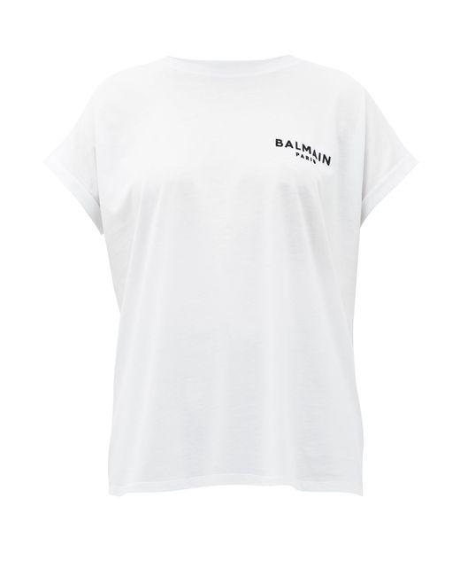 Balmain White Flocked Logo Cotton T-shirt