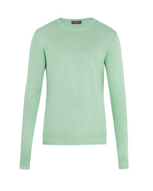 Berluti - Green Crew Neck Silk Knit Sweater for Men - Lyst