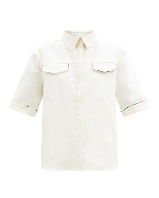 Sir. The Label モーリス コットンキャンバスシャツ White