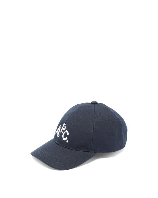 A.P.C. Blue Aaron Logo-embroidered Cotton Cap for men