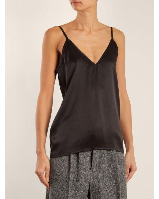Raey Black V-neck Silk-satin Cami Top