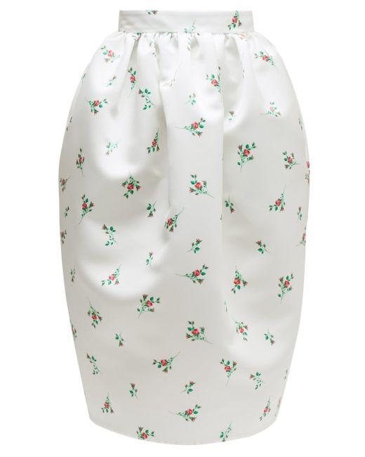 Rochas フローラルプリント ダッチェスサテンスカート Multicolor