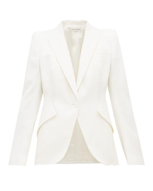 Alexander McQueen White Single Breasted Peak Lapel Wool Jacket
