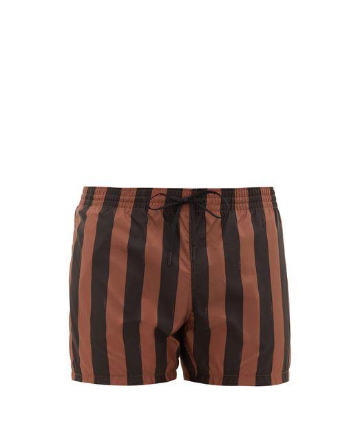 Fendi Brown Pequin-stripe Swim Shorts for men
