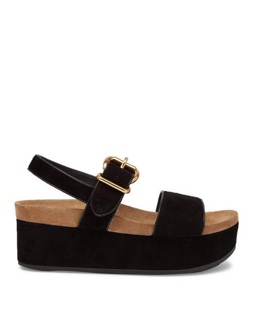 Prada - Black Suede Double-strap Flatform Sandals - Lyst
