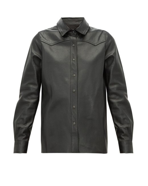 Nili Lotan Juline スネークパターン レザーシャツ Black