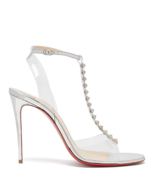 Christian Louboutin Metallic Jamais 100 Studded Mirrored-leather Sandals