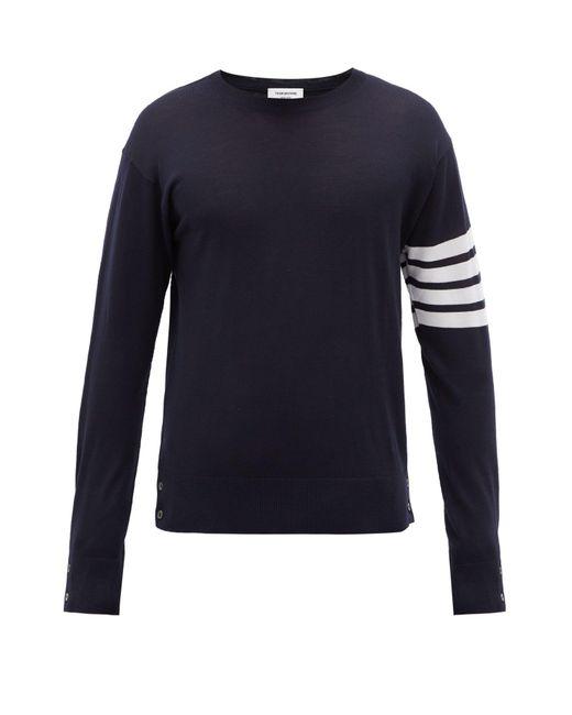 メンズ Thom Browne 4bar インターシャストライプ ウールセーター Blue
