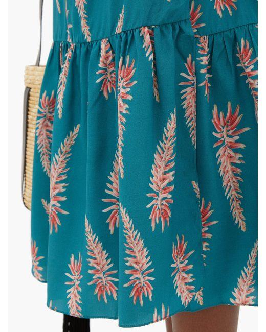 Adriana Degreas アロエ シルククレープ ラップスカート Blue