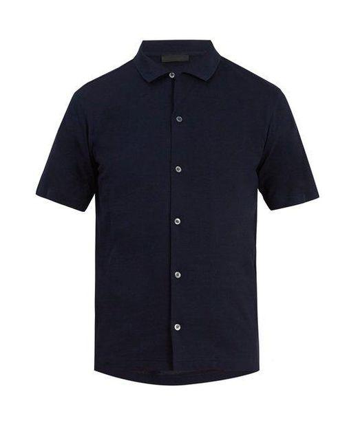 Prada - Blue Spread-collar Cotton-piqué Polo Shirt for Men - Lyst
