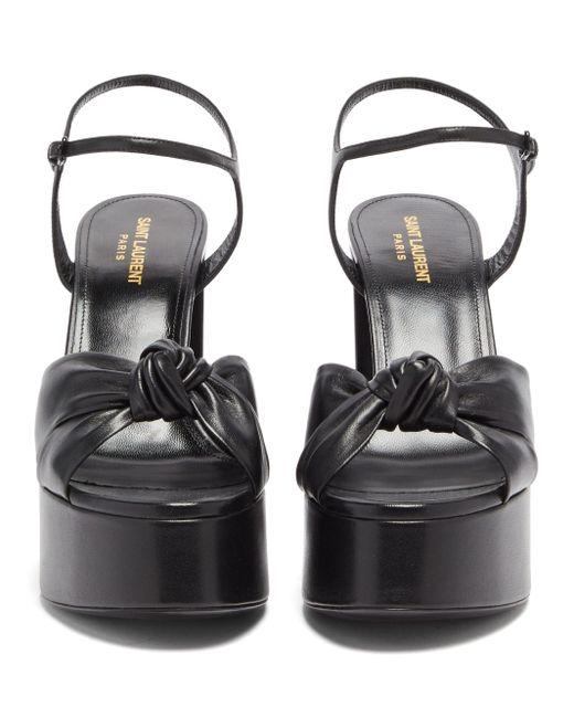 Saint Laurent Black Bianca Knotted Leather Platform Sandals