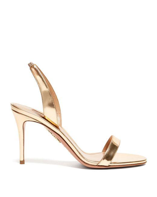 Aquazzura Metallic So Nude 85 Mirrored-leather Slingback Sandals