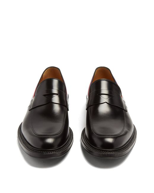 47e82f0f750 ... Gucci - Black Beyond Web Striped Embellished Leather Loafers for Men -  Lyst ...