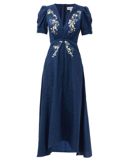 Saloni レア フローラル シルククレープドレス Blue