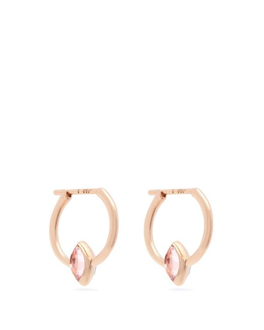 Marie Mas - Pink Swinging Mini Hoop 18kt Rose Gold Earrings - Lyst