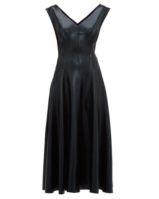Robe midi en similicuir réversible Grace Norma Kamali en coloris Black