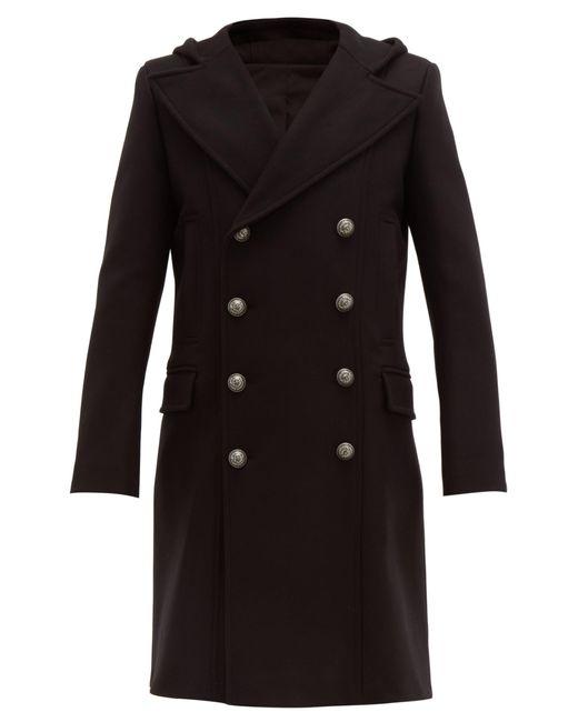 Manteau en laine mélangée à double boutonnage Balmain pour homme en coloris Black