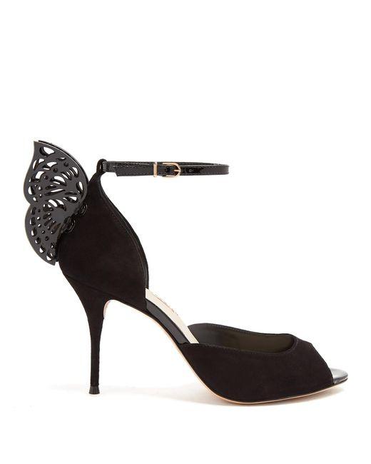 Sophia Webster | Black Flutura Butterfly-wing Suede Sandals | Lyst