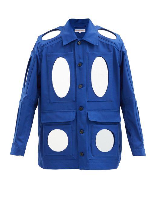 メンズ Walter Van Beirendonck ミラーモチーフ ツイルジャケット Blue