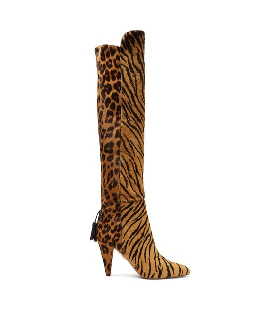 Aquazzura - Brown X Claudia Schiffer Bowie 85 Knee High Boots - Lyst