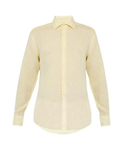 Frescobol Carioca Yellow Regular Fit Linen Shirt for men